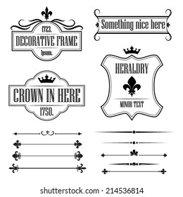 Set of calligraphic flourish design elements, deviders, frames and borders - decorative vintage style - fleur de lis