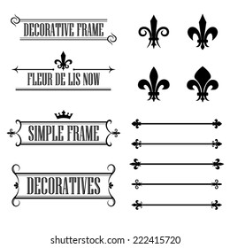 Set of calligraphic flourish design elements - fleur de lis, deviders, frames and borders - decorative vintage style