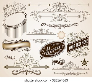 Set of Calligraphic frames and page decoration elements vector illustration with all separated elements.