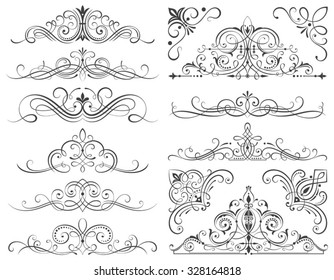 Set of calligraphic frames and scroll elements vector illustration with all separated elements.