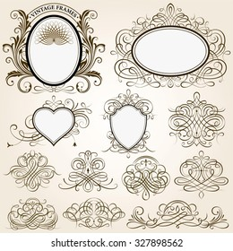 Set of calligraphic frames vector illustration with all separated elements.