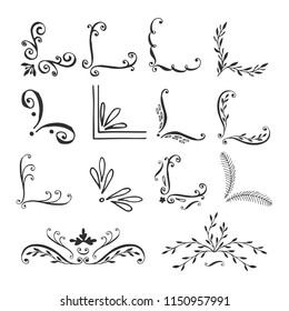 Set of calligraphic hand drawn corners and dividers. Vector isolated decorative elements. Elegant floral style.