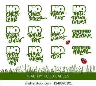 Set of Calligraphic Labels for the Organic and Allergen Free Food
