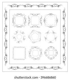 Set of Calligraphic lines