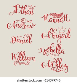 A set of calligraphic names (Ethan, Hannah, Andrew, Abigail, Daniel, William, Ashley), which can be used for tattoos, decorating personal utensils, labels on clothes, postcards on the day of birth.