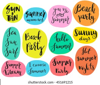 Charming Set Of Calligraphic Summer Theme Sayings In Stickers, Badges. Isolated  Vector Illustrations On White