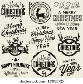 Set of Calligraphic and Typographic Christmas and New Year Badges and Symbols for Greeting Cards, Invitations and Postcards in Vintage Style. Vector Illustrations.