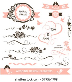 Set of calligraphic wedding design elements. Vector decorative hearts and flowers