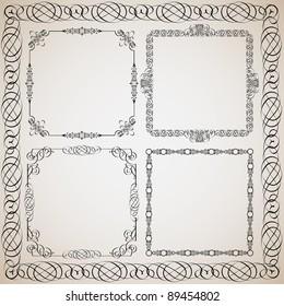 Set of Calligraphy frames.Vector design elements