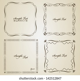 Set of calligraphy vector frames with sample text