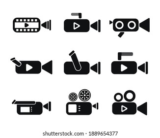 Set of camcorders and video icons. Video Recording Vector Icon