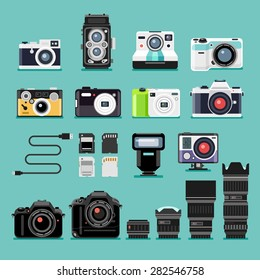 Set of camera flat icons. Vector illustration.
