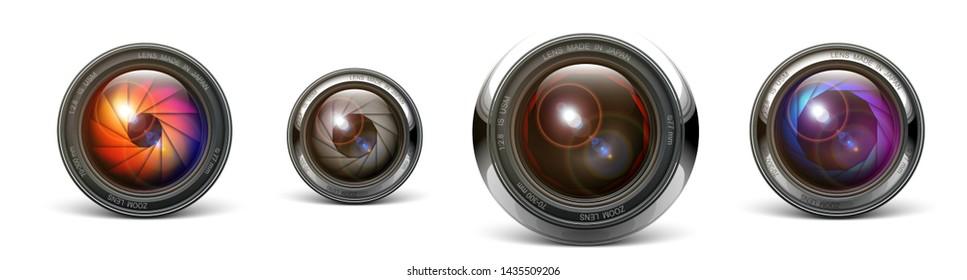 set camera lens object-glass photography background illustration technology design Isolated on white background