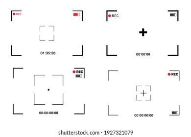 Set camera screen on white background. Camera icon. Photo frame. Vector illustration. Stock image. EPS 10.