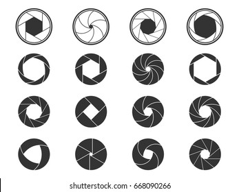 Set of camera shutter aperture icons