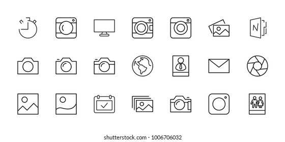 Set of cameras and photo, vector line icons. Contains symbols of portraits and family photos and much more. Editable move. 32x32 pixels.