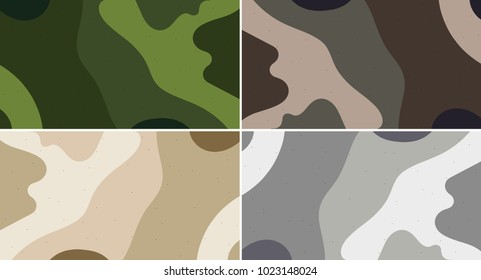Set of camouflage seamless pattern. Abstract modern vector military backgound. Fabric textile print tamplate.
