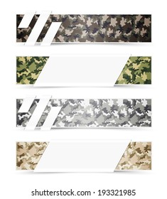 Set of Camouflage Web Banners with White Space