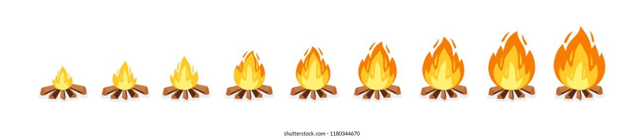 Set of camp fire sprites for animation. Vector cartoon illustration bonfire burning frames. Explosion, torch, campfire for game design.