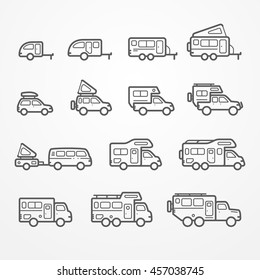 Set Of Camping Car Icons In Flat Silhouette Line Style Travel SUV Pickup