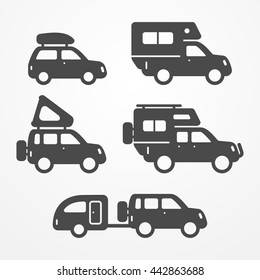 Set of camping car icons. Travel car symbols in silhouette style. Camping cars vector stock illustration. Car, SUV and pickup with camping equipment.