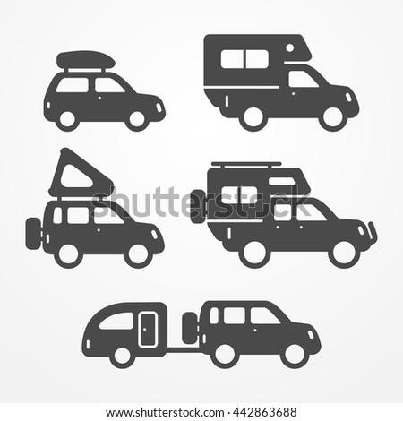 Set Camping Car Icons Travel Car Stock Vector Royalty Free