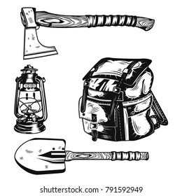 Set of camping elements (an axe, a shovel, a backpack and a kerosene lamp) for creating your own badges, logos, labels, posters etc. Isolated on white.