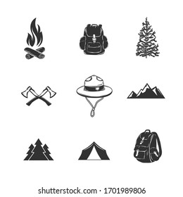 Set of camping elements isolated on white. Tent, trees, backpacks. Vector illustration.
