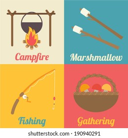 Set of camping icons for outdoor activities: campfire, marshmallow, fishing rod and gathering. Flat design vector illustration