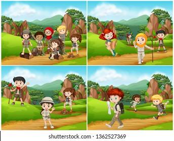 Set of camping kids in nature illustration