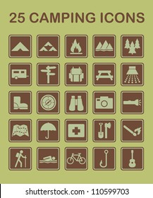 Set of camping and nature related icons.