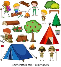 Set of camping objects isolated illustration