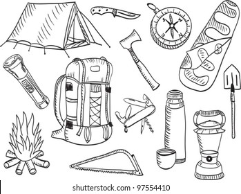 Set of camping and outdoor equipment - sketch style