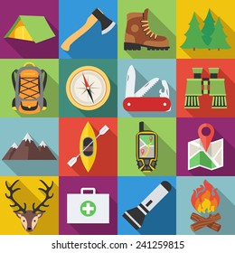 Set of camping outdoor icons in flat design with long shadows