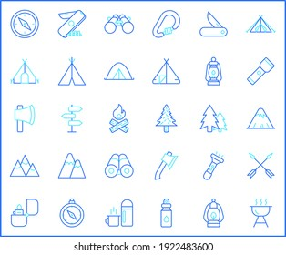 Set of camping and outdoor icons line style. It contains such Icons as travel, destination, compass, backpack, hiking, mountain, tent, compass, knife, bonfire, fire, lamp, forest and other elements.