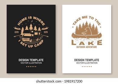 Set of camping template. Vector illustration Concept for shirt or logo, print, stamp or tee. Vintage typography design with quad bike, bear in canoe, camper trailer and forest silhouette.
