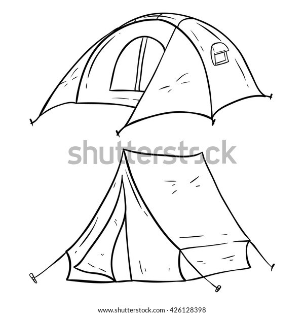 Set Camping Tent Doodle Sketchy Style Stock Vector (Royalty