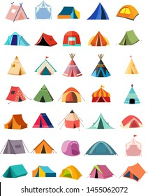 Set of camping Tent icon,sign isolated on white background