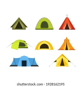 Set of camping tents icon, campsite and tourism, putting up a tent, vector