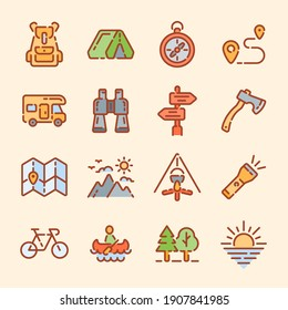 Set of camping trip or tourism color outline icons. Vector illustration.