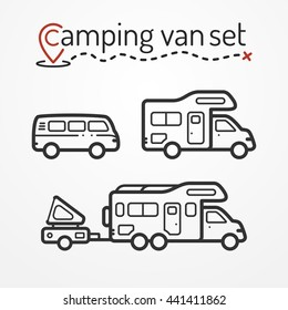Set of camping van icons. Travel van symbols in silhouette line style. Camping vans vector stock illustration. Vans and RVs with camping equipment.