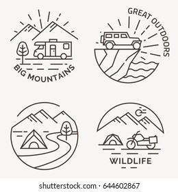 Set of camping vector line logo, badges and emblems.