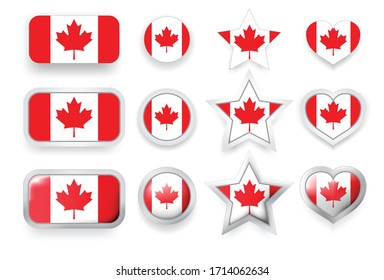 Set of Canada vector labels square button, circle button, star and heart buttons in flag colors red, white for flyer, poster or any holiday design