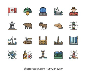 Set of Canadian Culture Color Line Icons. Sports Equipment, Police, Elk and more