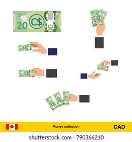 Set of Canadian dollar banknote. Holding, throwing Canadian dollar banknote.