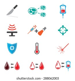 Set of cancer tratment icon for medical in color flat icon style