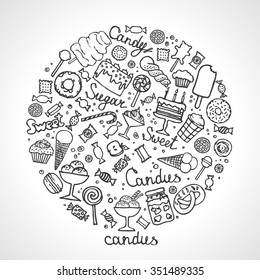 Set of candies, cakes, sweets, ice cream and desserts in doodle style. Hand drawn vector illustrations. Illustration of isolated sweet candies set