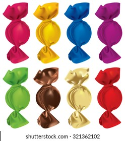 Set of candies in colorful wrapper on a white background