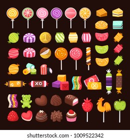 Set of candies and sweets for holidays. Colorful pastry illustrations. Isolated vectors.