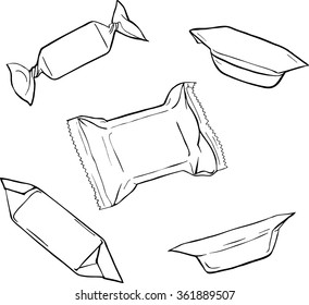 Set of candies and sweets on white background. Cartoon sketch drawn by ink. hamd drawn vector illustration.